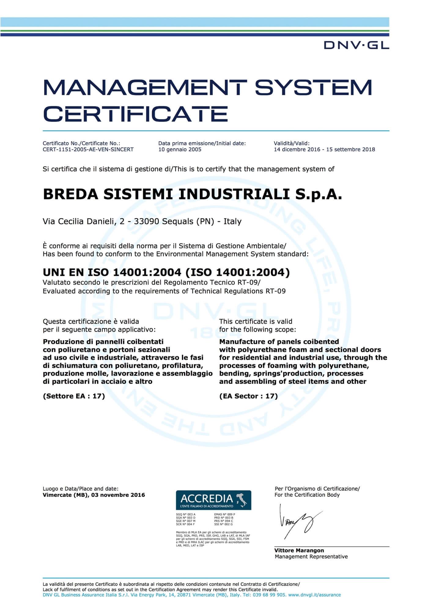 Certificazione ISO 14001